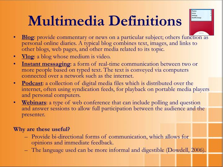 Multimedia Definitions