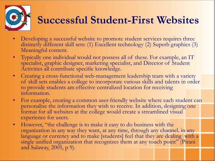 Successful Student-First Websites