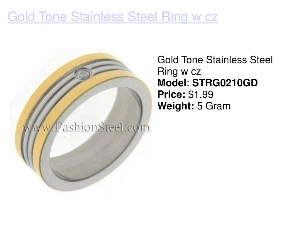 Gold Tone Stainless Steel Ring w cz