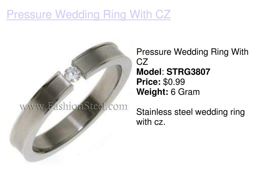 Pressure Wedding Ring With CZ