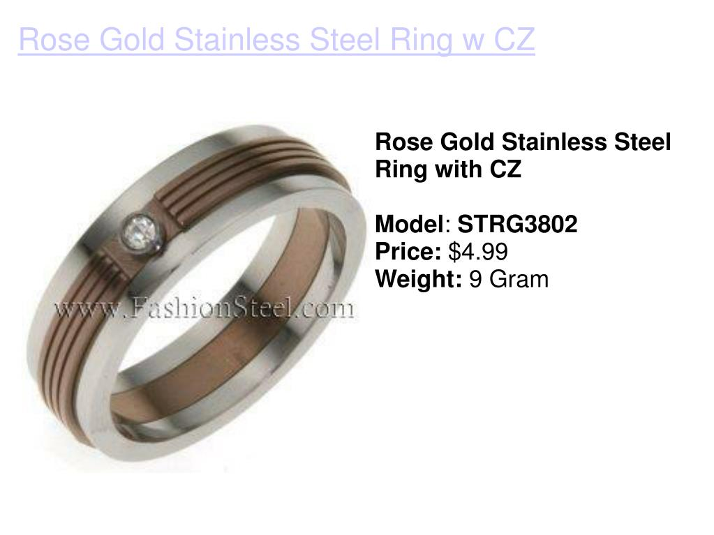 Rose Gold Stainless Steel Ring with CZ