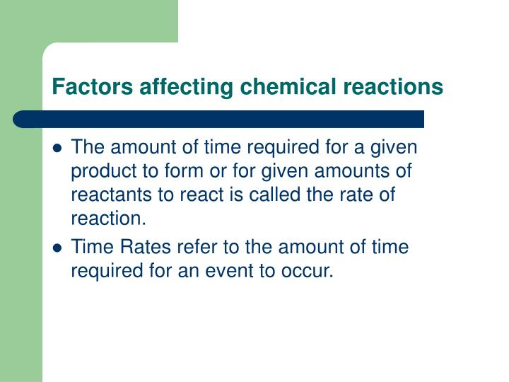 Factors affecting chemical reactions