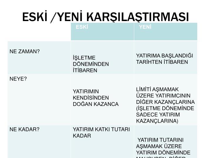 ESKİ /YENİ KARŞILAŞTIRMASI