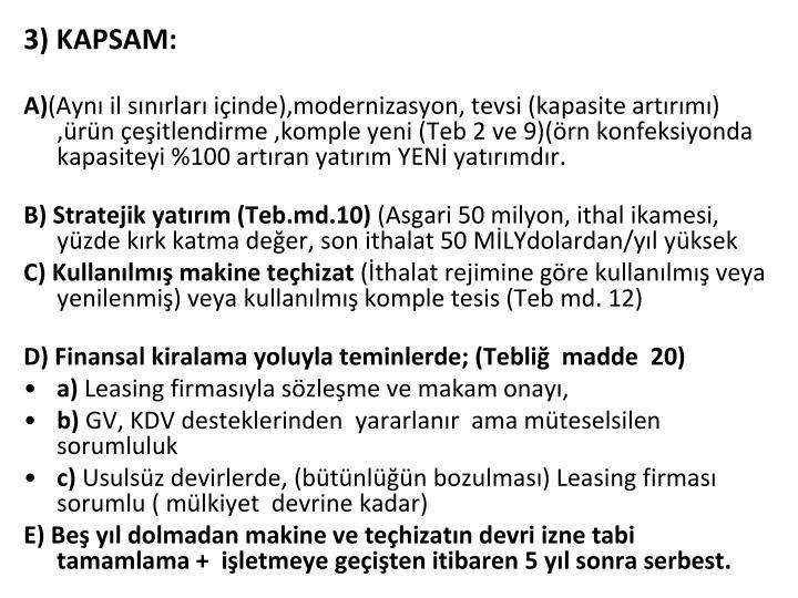 3) KAPSAM: