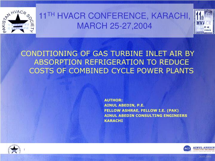 11 th hvacr conference karachi march 25 27 2004