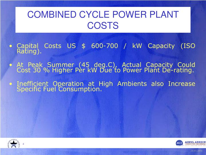 COMBINED CYCLE POWER PLANT COSTS
