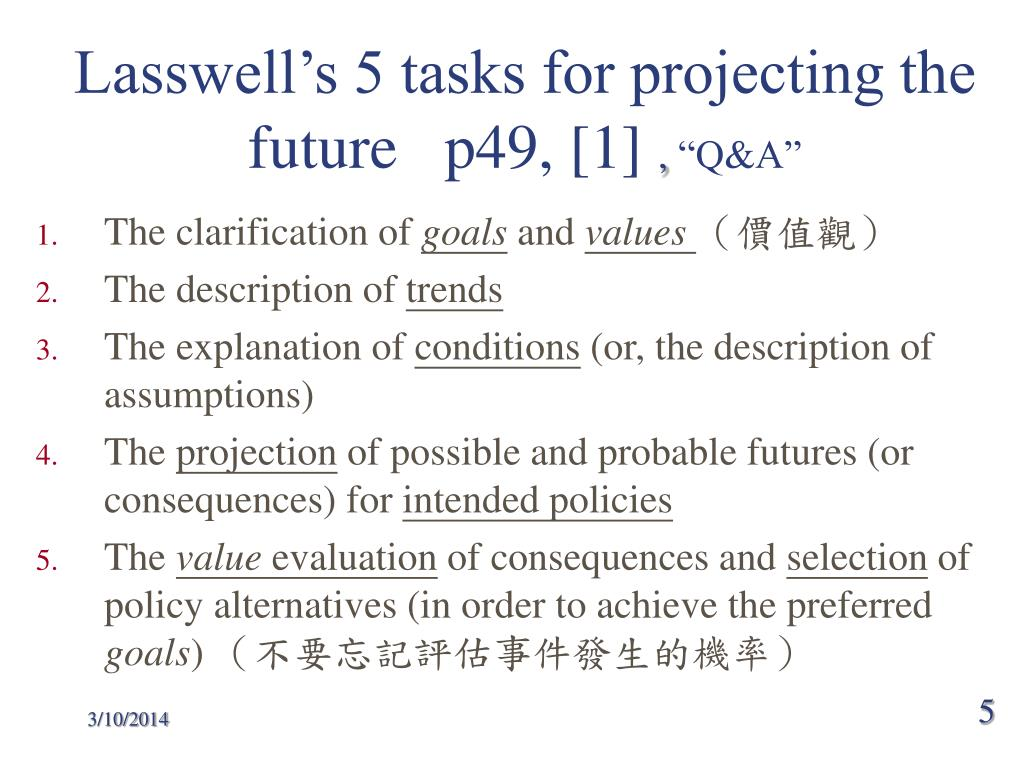 Lasswell's 5 tasks for projecting the future   p49, [1]