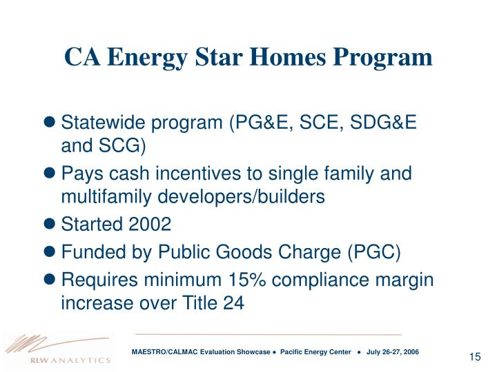 CA Energy Star Homes Program