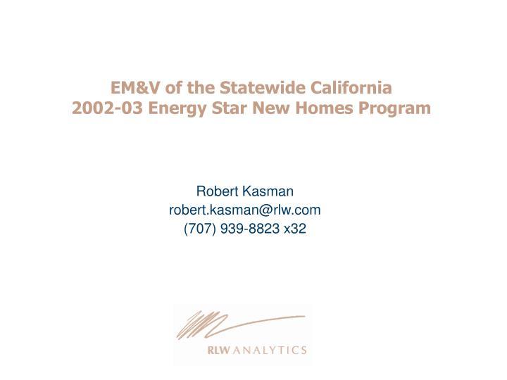 EM&V of the Statewide California