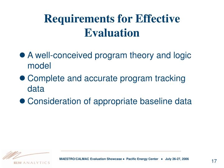 Requirements for Effective Evaluation