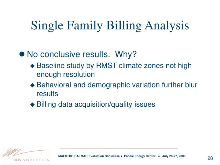 Single Family Billing Analysis