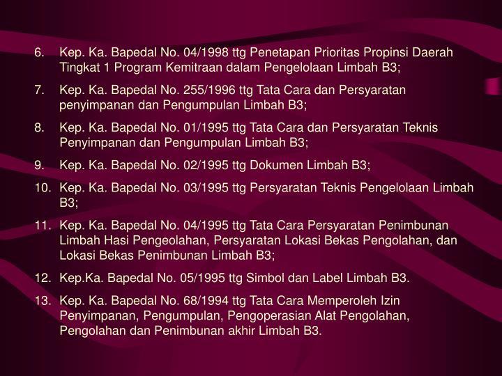 Kep. Ka. Bapedal No. 04/1998 ttg Penetapan Prioritas Propinsi Daerah Tingkat 1 Program Kemitraan dalam Pengelolaan Limbah B3;