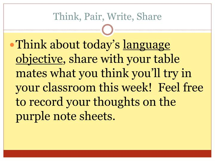 Think, Pair, Write, Share