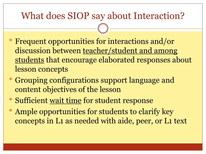 What does SIOP say about Interaction?