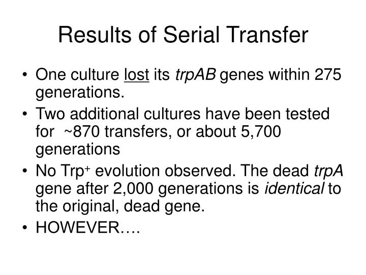Results of Serial Transfer