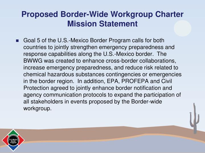 Proposed Border-Wide Workgroup Charter