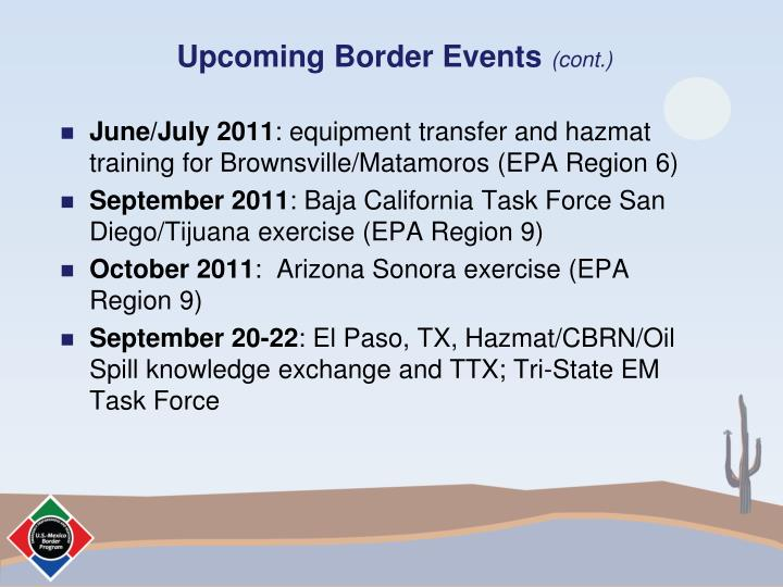 Upcoming Border Events