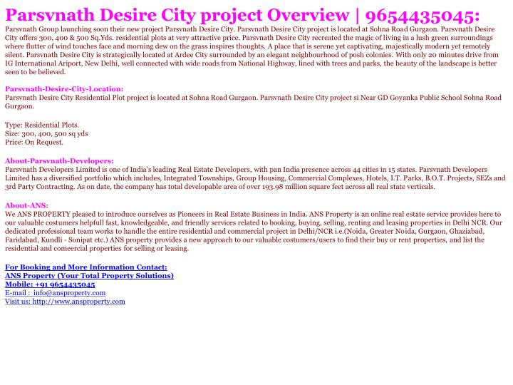 Parsvnath Desire City project Overview | 9654435045: