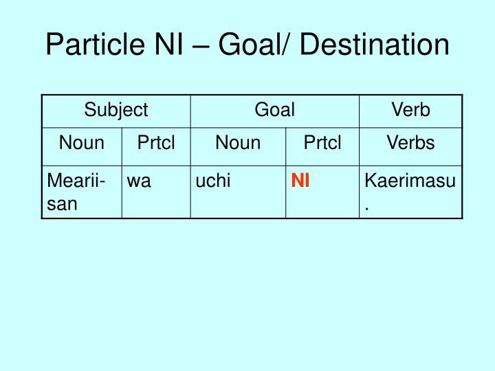 Particle NI – Goal/ Destination