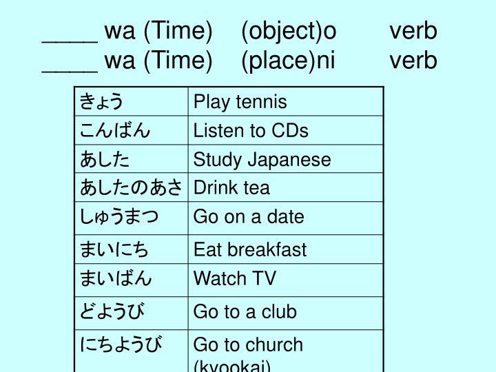 ____ wa (Time)