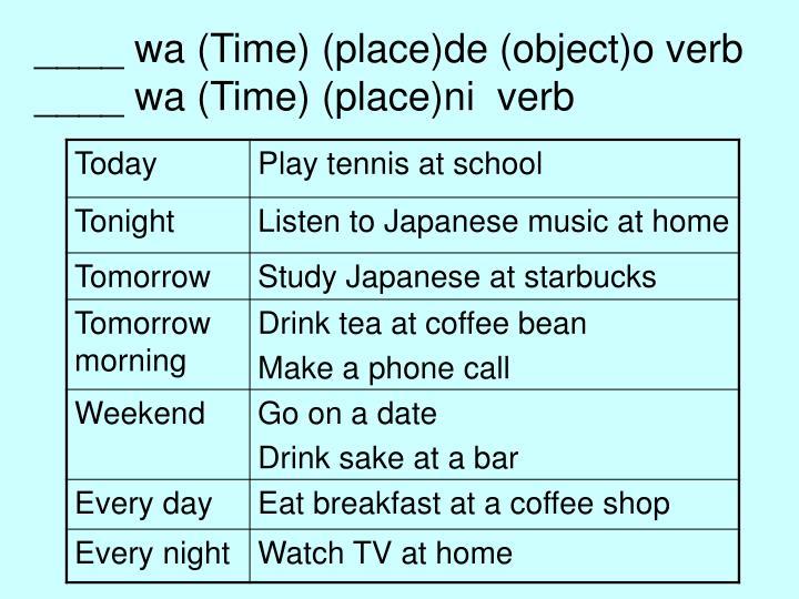 ____ wa (Time) (place)de (object)o verb
