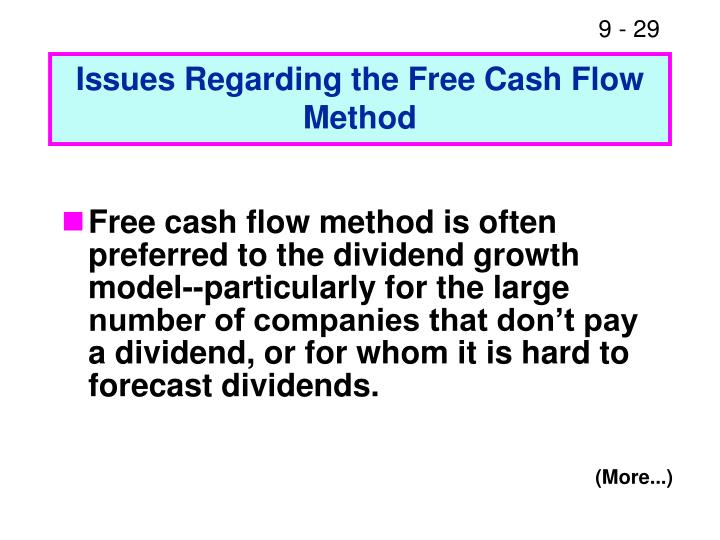 Issues Regarding the Free Cash Flow Method
