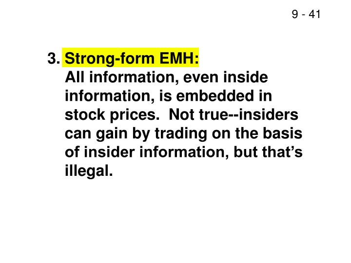 3.	Strong-form EMH: