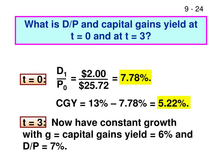 What is D/P and capital gains yield at