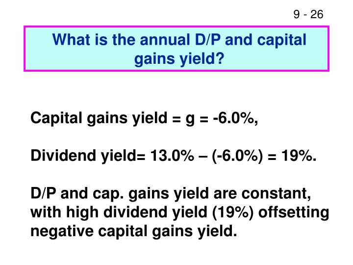 What is the annual D/P and capital gains yield?