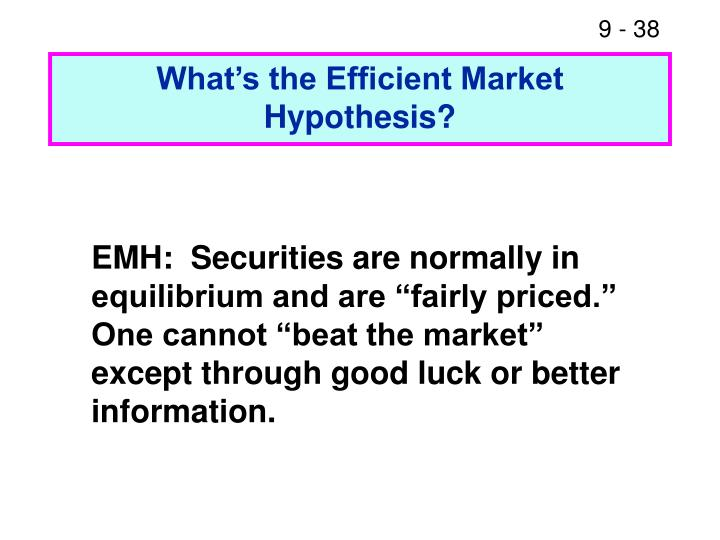 What's the Efficient Market Hypothesis?