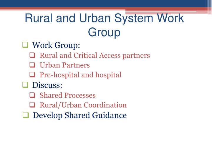 Rural and Urban System Work Group
