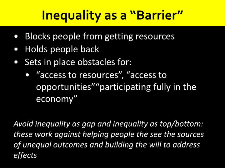 "Inequality as a ""Barrier"""