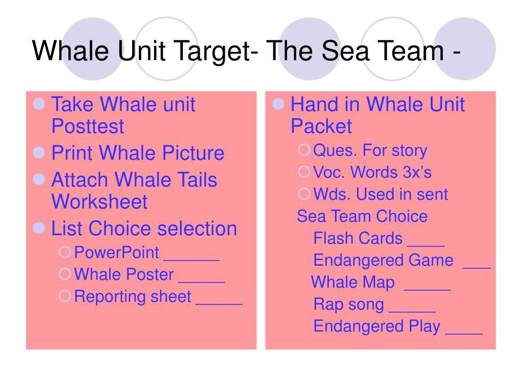Take Whale unit Posttest