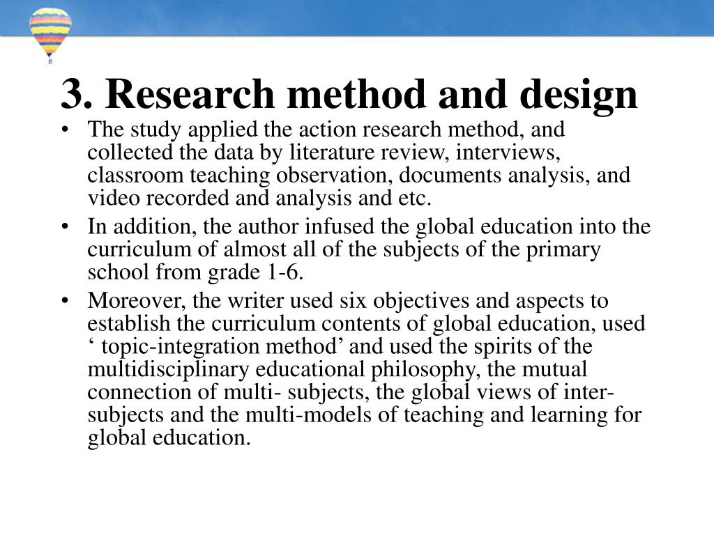 3. Research method and design