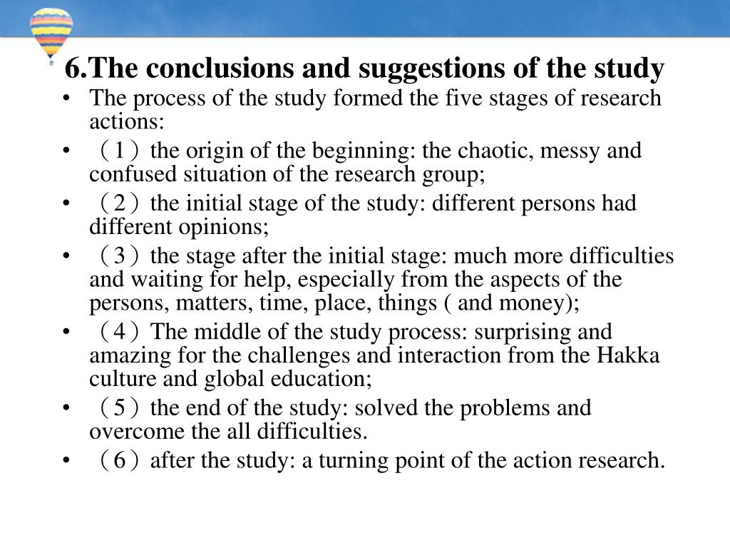6.The conclusions and suggestions of the study