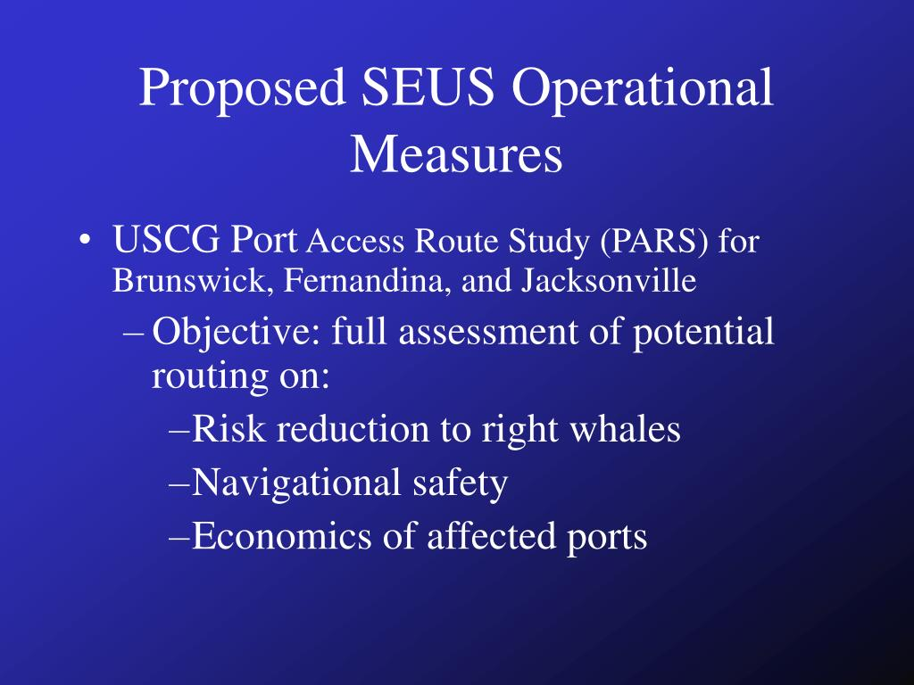 Proposed SEUS Operational Measures