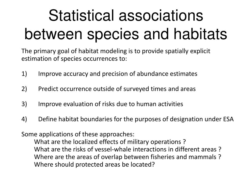 Statistical associations between species and habitats