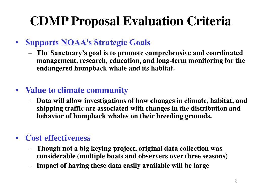 CDMP Proposal Evaluation Criteria