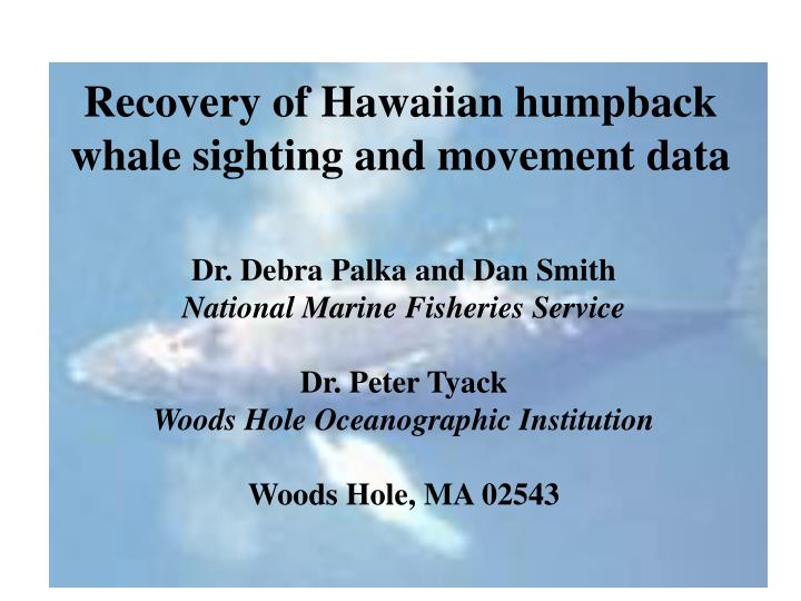Recovery of hawaiian humpback whale sighting and movement data