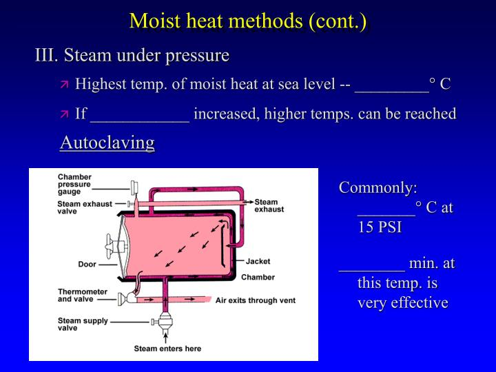 Moist heat methods (cont.)