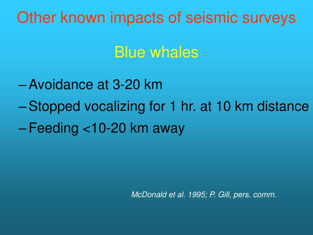 Other known impacts of seismic surveys