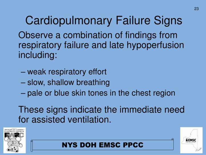 Cardiopulmonary Failure Signs