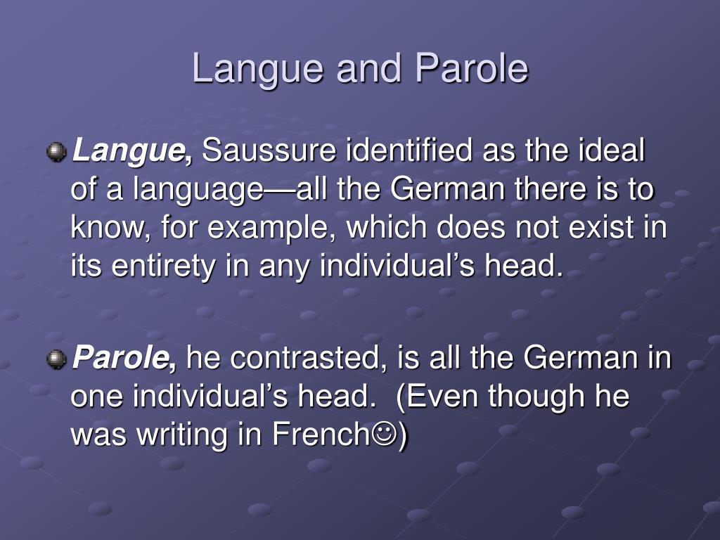 Langue and Parole