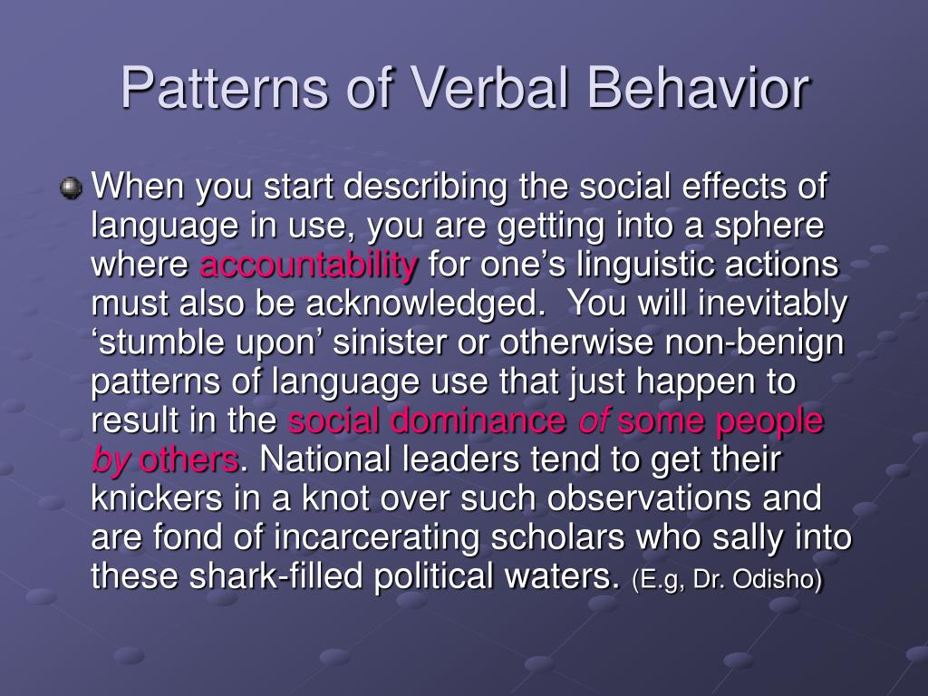Patterns of Verbal Behavior