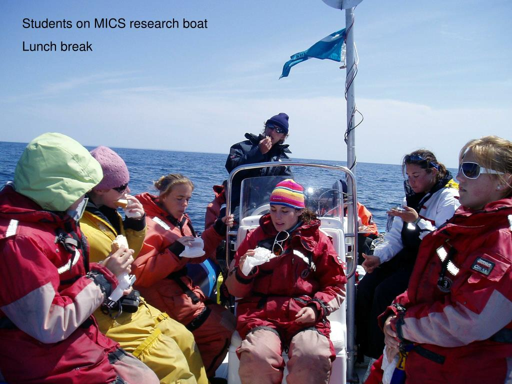 Students on MICS research boat