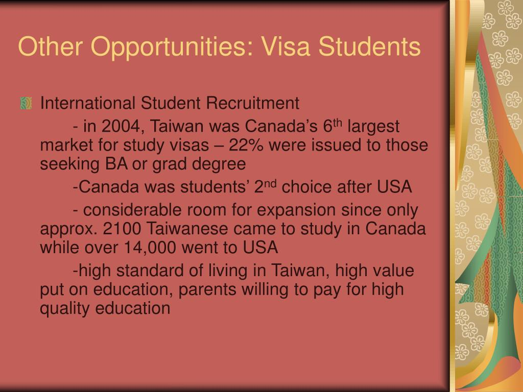 Other Opportunities: Visa Students