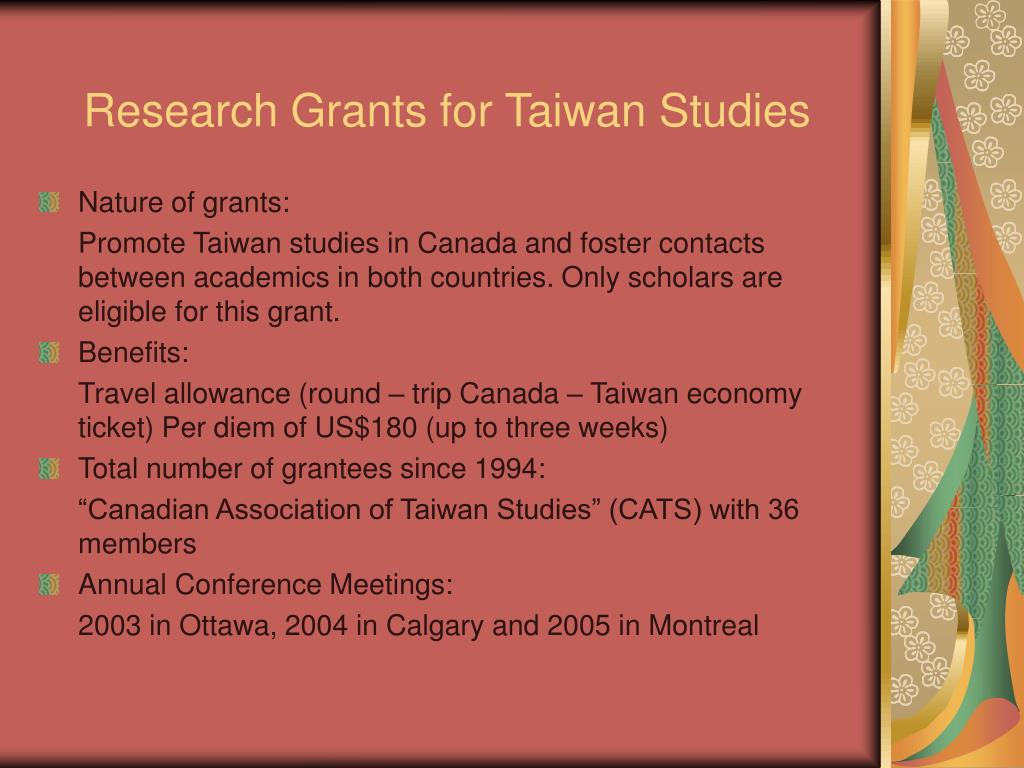 Research Grants for Taiwan Studies