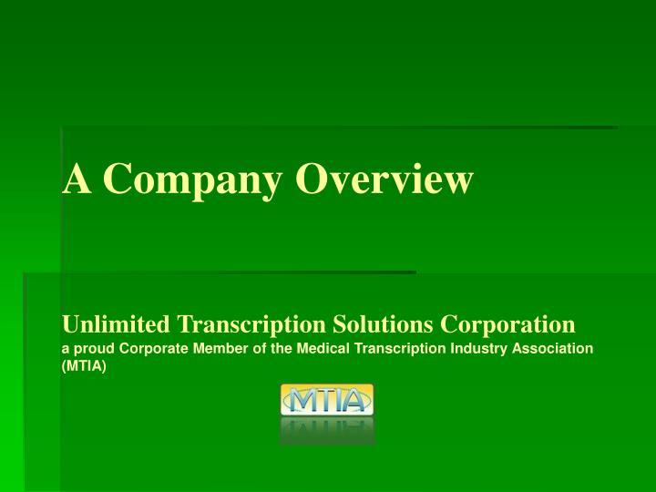 A Company Overview