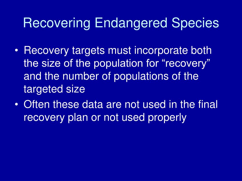 Recovering Endangered Species