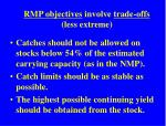 rmp objectives involve trade offs less extreme